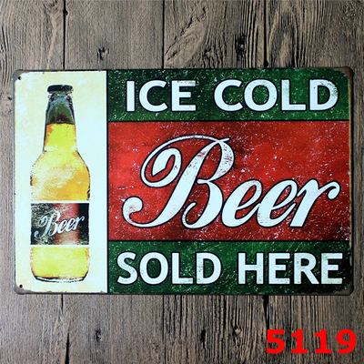 Metal painting Vintage tin signs Retro cocktails iron plate