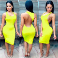 Fashion new women fashion backless sexy dress colorful sleeveless dresses slim casual mini dress