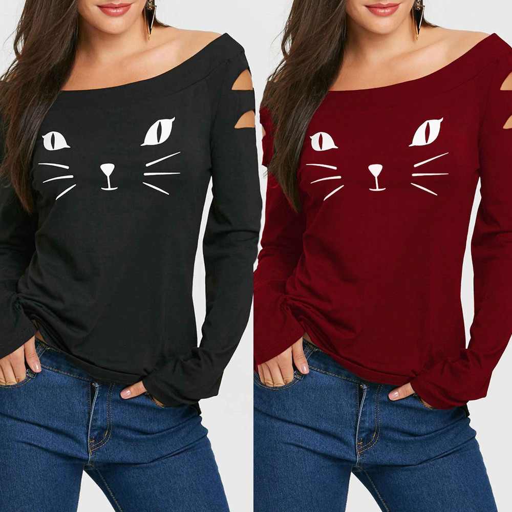 70ec41ae443 Women Cat Cold Shoulder Loose Casual Long Sleeve Shirt Tops Tops Polyester  Print Autumn Winter Casual