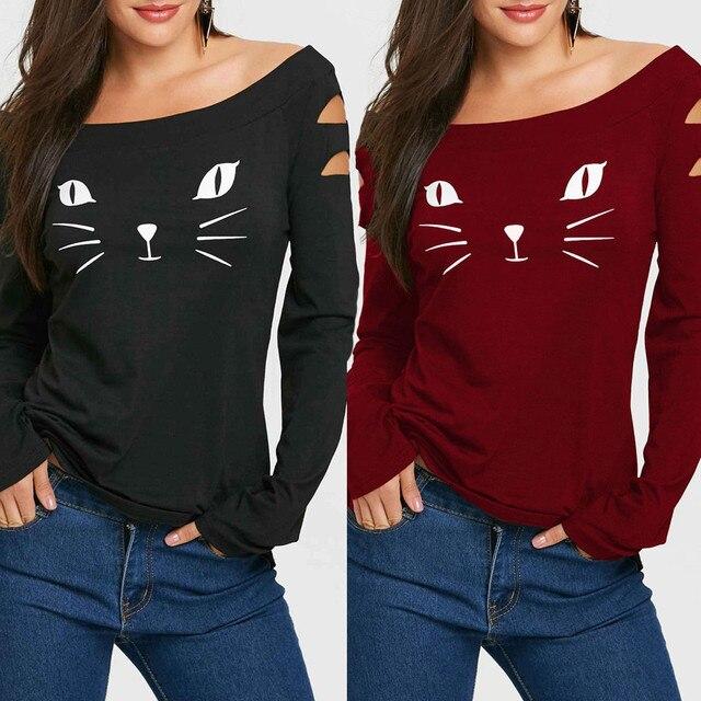 נשים חתול קר כתף רופף מזדמן ארוך שרוול חולצה חולצות נקבה פוליאסטר הדפסת סתיו חורף מקרית חולצות camiseta mujer