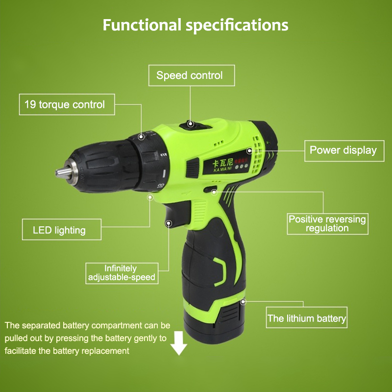 16.8V 25V Electric Screwdriver Two Speed Cordless Electric Drill Rechargeable Lithium-ion Battery Adjustable Power tools