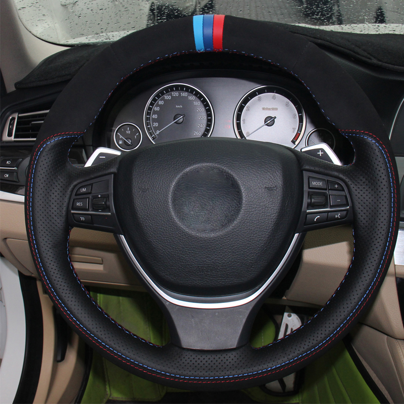 Hand Sewing DIY Car Steering Wheel Cover Suede Leather For BMW F10 2014 520i 528i 2013 2014 730Li 740Li 750Li Car Accessories-in Steering Covers from Automobiles & Motorcycles    3