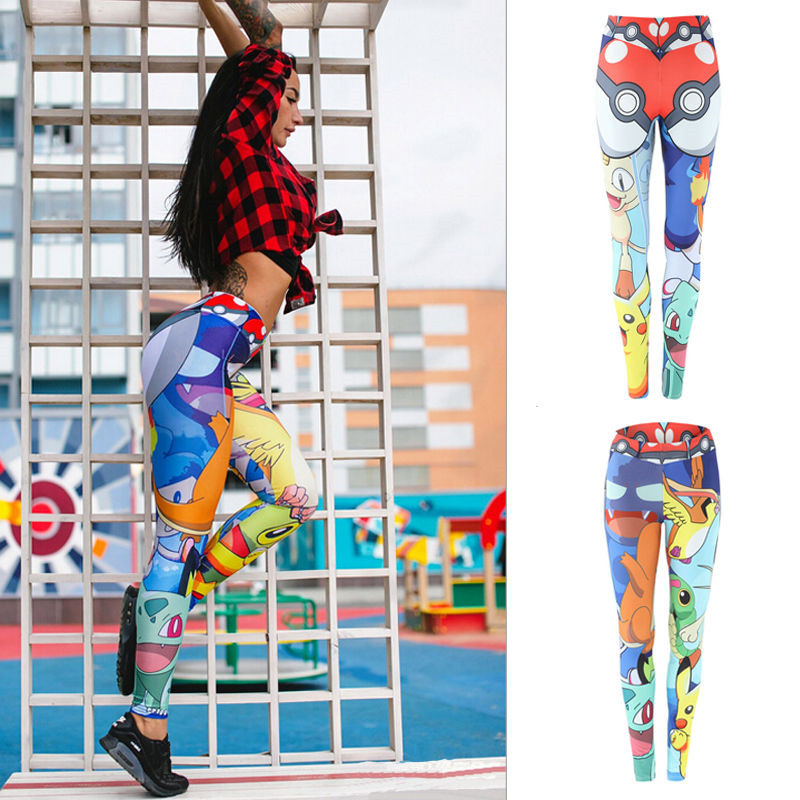 BONJEAN Summer Autunm Sexy Leggings Print  Fitness Cartoon Pokemon GO Pikachu Women Trousers Elastic High Waist Pants S-XL