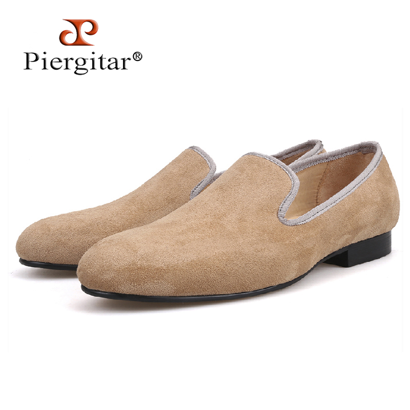 Piergitar Suede Shoes Men Loafers Men's Flats Slip-On Fashion Breathable for Party And