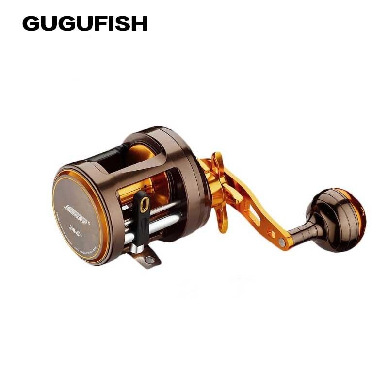 цена на GUGUFISH All metal11BB+1RB Bait Casting Fishing Reels Super Drum Left /Right Hand 5.5:1 Snakehead Trolling Fishing Reel