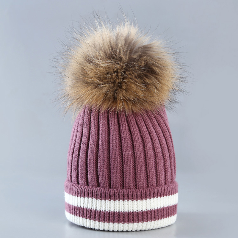 Winter Knitted bonnet   Beanie   Pompom fur Ball Hat Female Winter Hat For Women Striped Cotton Warm Caps Thick   Skullies     Beanies