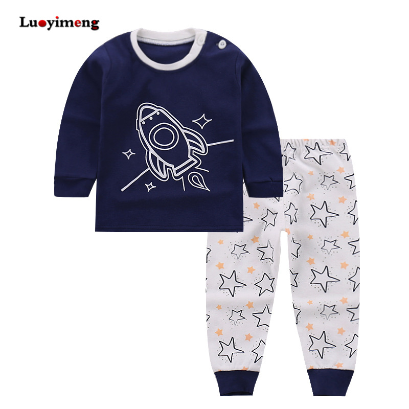 Girls Boys Pajama Set 2piece Cotton Pijamas Infantil Baby Clothing Sleeper Pyjamas Cartoon Newborn Nightwear Kids Sleepwear 2-7T