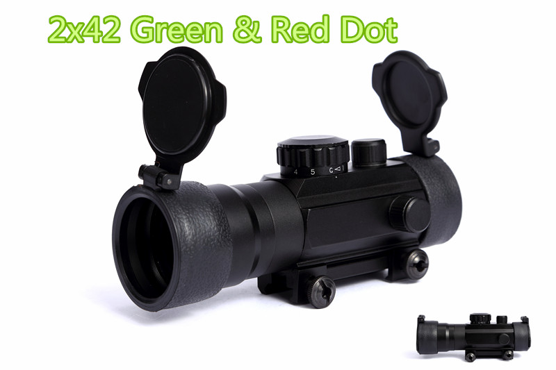 Free Shipping 2x42 Green & Red Dot Reflexible Rifle Scope 2 Times Magnification Sight For Hunting