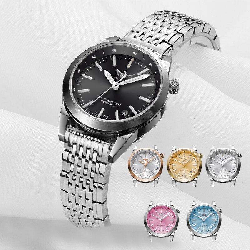 Nouveau Arrivent Bracelet En Acier YELANG V1010 Mise À Niveau Version T100 Tritium Lumineux Étanche Femme D'affaires De la Mode Quartz montre-Bracelet