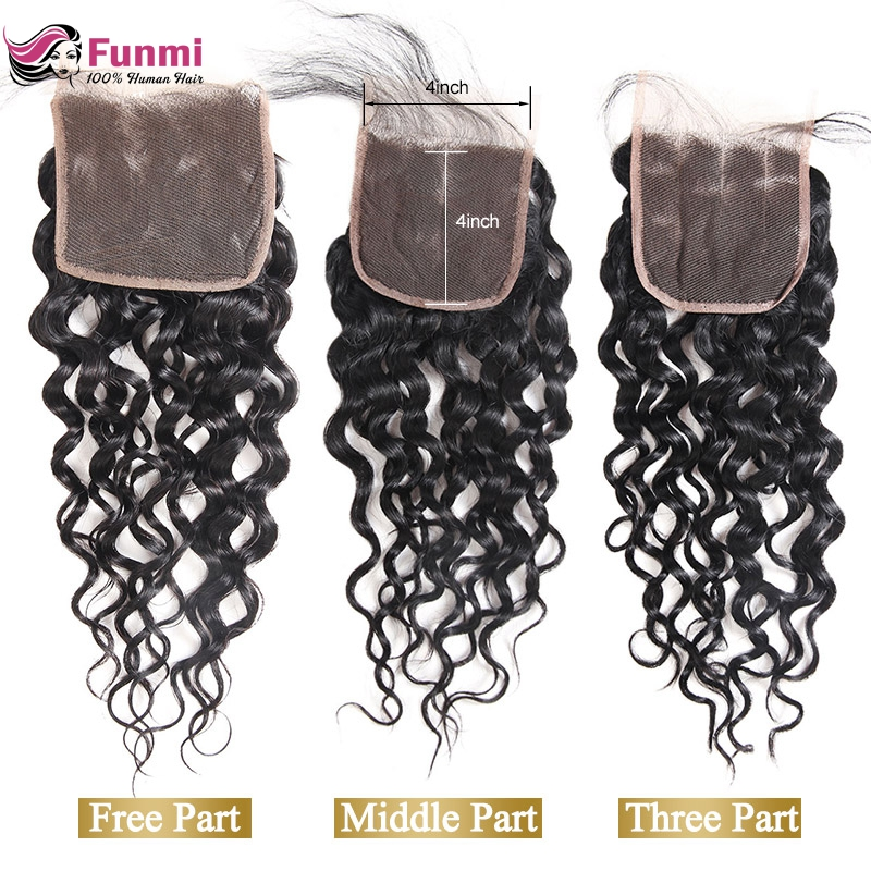 Funmi Hair Brazilian Virgin Hair Water Wave Closure 4x4 Lace Closure With Baby Hair 100% Human Hair Weave Bundles Natural Color
