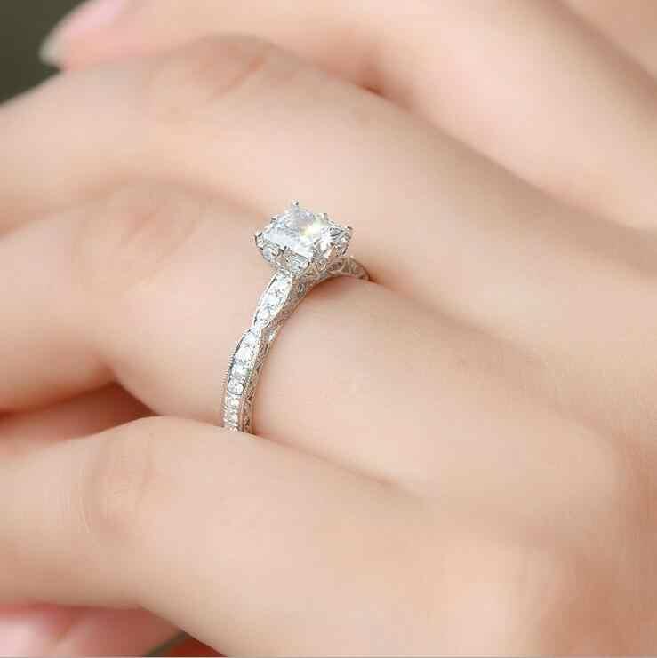 1Ct Роскошные кольцо с голубым кристаллом 925 пробы серебряный пасьянс 5A CZ камни Свадебные Обручение изготовленный на заказ женское свадебное кольцо Размер 4-11
