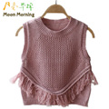 Moon Morning Girls Gilets Spring Autumn Pink 18M~4T Solid Vest Cotton Knitwear Brand Children Outfits Brand Newest Child Clothes