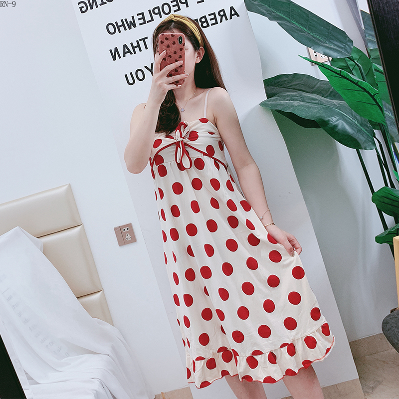 Point Sleeping Skirt Female Summer Thin Cotton Sexy Sling dress Sweet Lovely Student sleepwear women   nightgowns   girl   sleepshirts