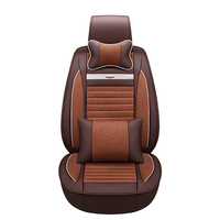 Modern Retro Style Car Cushions Leather Hemp Stitching Car-Seat-Cover Business Gentleman Car Seat Covers Free Shipping