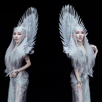 white gold feather shoulder wing props prince princess cosplay feather wings