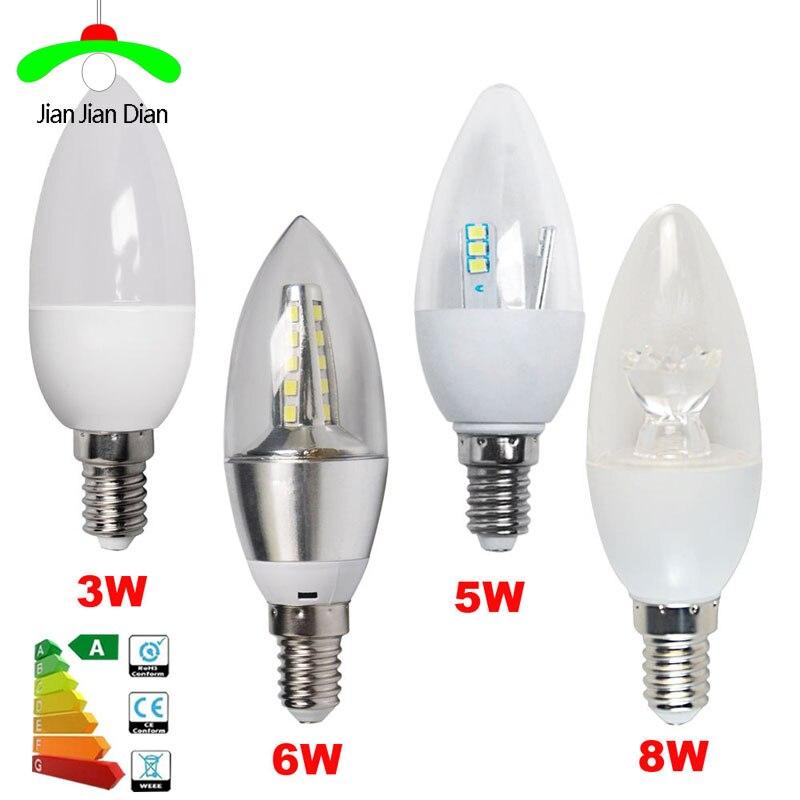 6pcs E14 E27 E12 B15 B22 LED Candle Bulbs 8W 6W 5W 3W AC110-240V Edison Screw Chandelier Lamp Day White Warm White