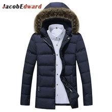 JacobEdward Winter Jacket Men Coat Polyester Long Sleeve Snow Parkas Warm Thick Men's Jacket 2017 New Arrival Casual Overcoat