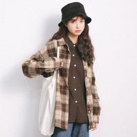 Women Blouse Spring And Autumn New Small Fresh Plaid Shirt Women Plus Size Casual Gray And