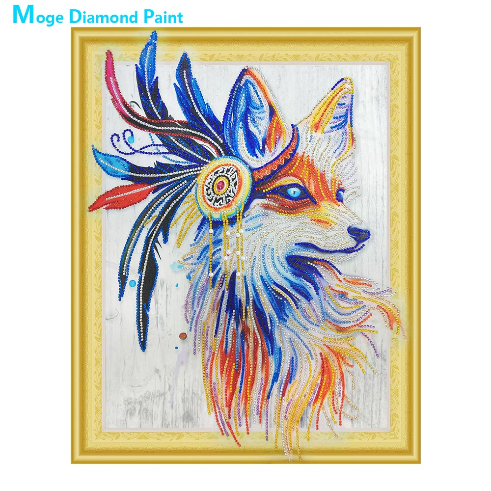 Indian Fox Diamond Painting Partial Round animal New DIY Sticking Drill Cross Embroidery 5D simple Home DecorationIndian Fox Diamond Painting Partial Round animal New DIY Sticking Drill Cross Embroidery 5D simple Home Decoration