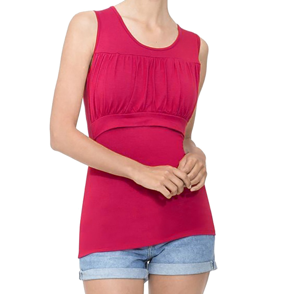 MUQGEW Maternity Clothes Women's Comfy Sleeveless Nursing Solid Pleated Front Top For Breastfeeding Ropa Premama Embarazadas