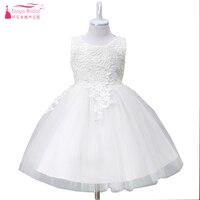 Blanco precioso Vestidos de flores de niña Encaje tulle elegante caliente pagent Vestidos Día de los niños realizar ceremonia fiesta desgaste zf048
