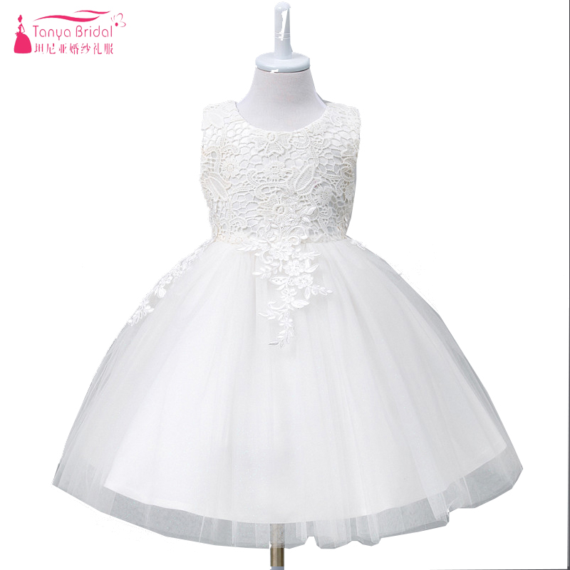 White Lovely   Flower     Girl     Dresses   Lace tulle Elegant Hot Pagent   Dresses   Children's Day perform gowns ceremony party wear ZF048