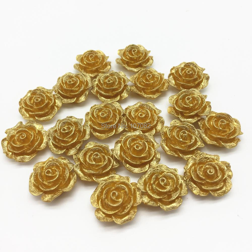50pcs 19mm Gold Rose Flower Flatbacks Embellishments DIY Resin Cabochons Scrapbooking For Phone Decorations DIY Crafts