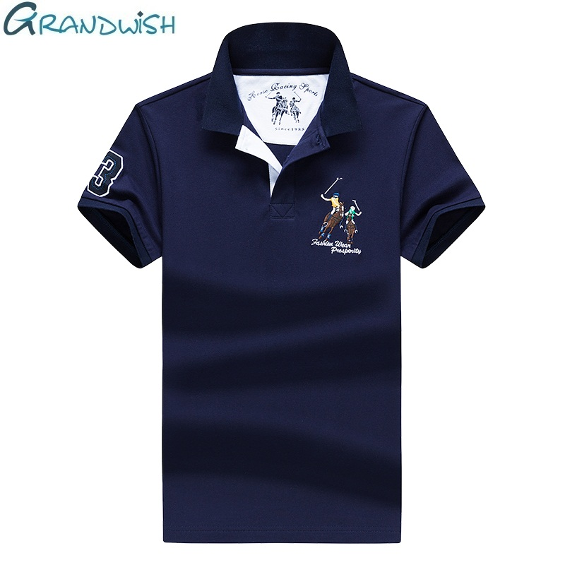 Grandwish Summer Male   Polos   Shirt Breathable Cotton Mens Clothing Soild Color Embroidery Men   Polo   Shirts with Short Sleeve,NA030