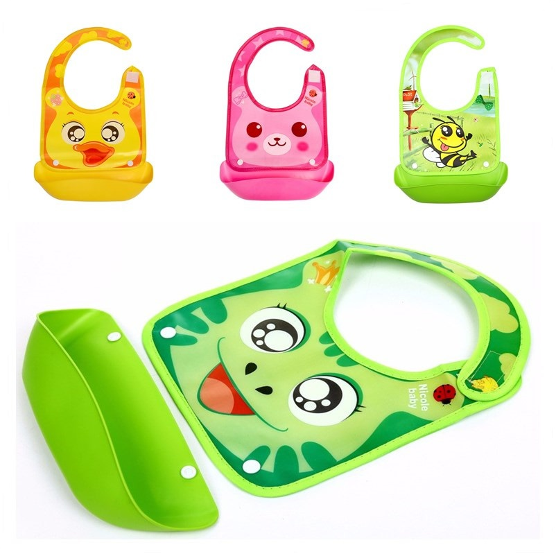 Baby Bibs Kids Girls Boys Waterproof Silicone Bib Cute Animals Meals Pocket Bibs Newborn Saliva Towel