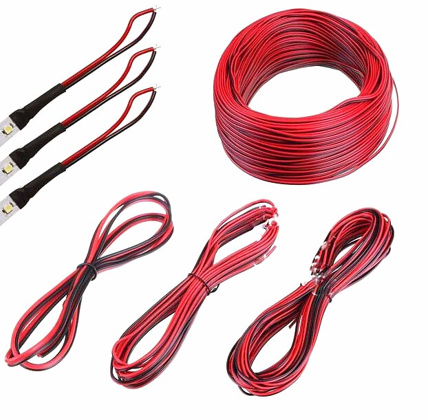 10m/pcs 22AWG, 2 pin Red Black cable, PVC insulated wire, 22 awg ...