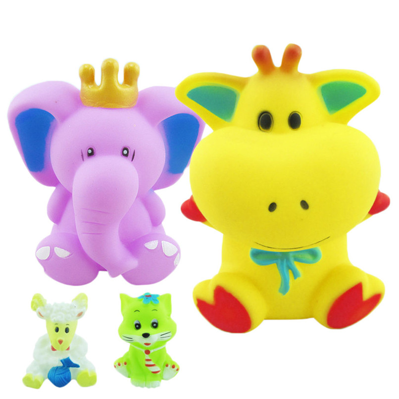4 Pcs Random Color Dabbling Toys Rubber Animals Images Squeak Toys Baby Bathing Shower Party Toys suit for tub or pool JY05#F