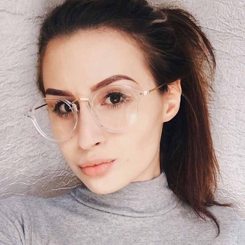 Feishini 2019 Myopia Eyeglasses Frames Men Round Clear