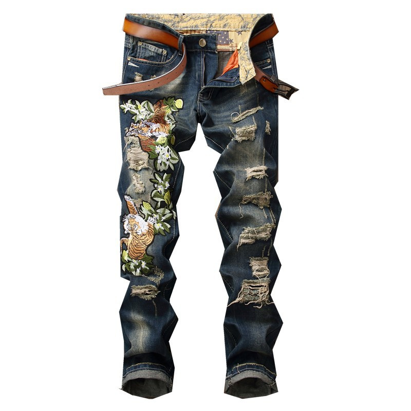 moruancle 2017 new womens ripped wide leg jeans pants distressed flare denim trousers with holes high waist boot cut size s xxl MORUANCLE Fashion Men's Ripped Embroidery Jeans Pants Distressed Tiger Embroidered Denim Trousers With Holes Size 28-38 Blue