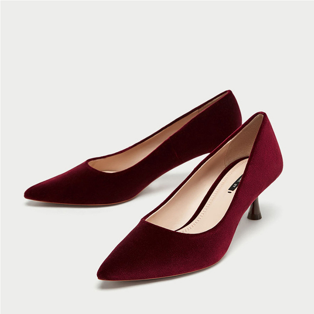 e714d3562 Boussac Velvet Women Pumps High Heels Elegant Wine Red Party Shoes Kitten  Heel Fashion Women Pumps Shoes SWB0071