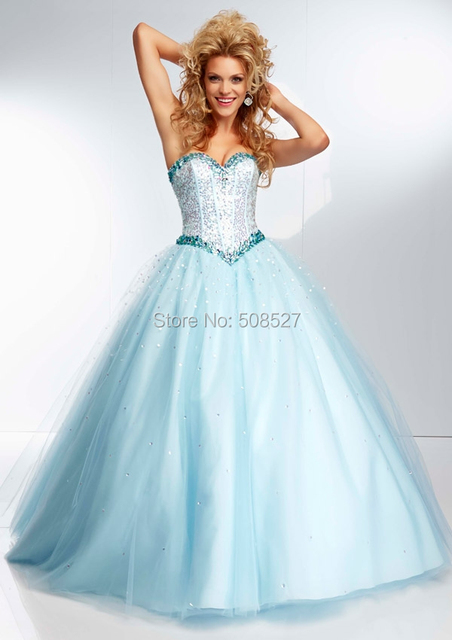 f903c1d912 2016 Custom Made Light Blue Satin Tulle Sequin Beading Crystal Charming  Prom Dress Prom Gown Party Dress Formal Dress