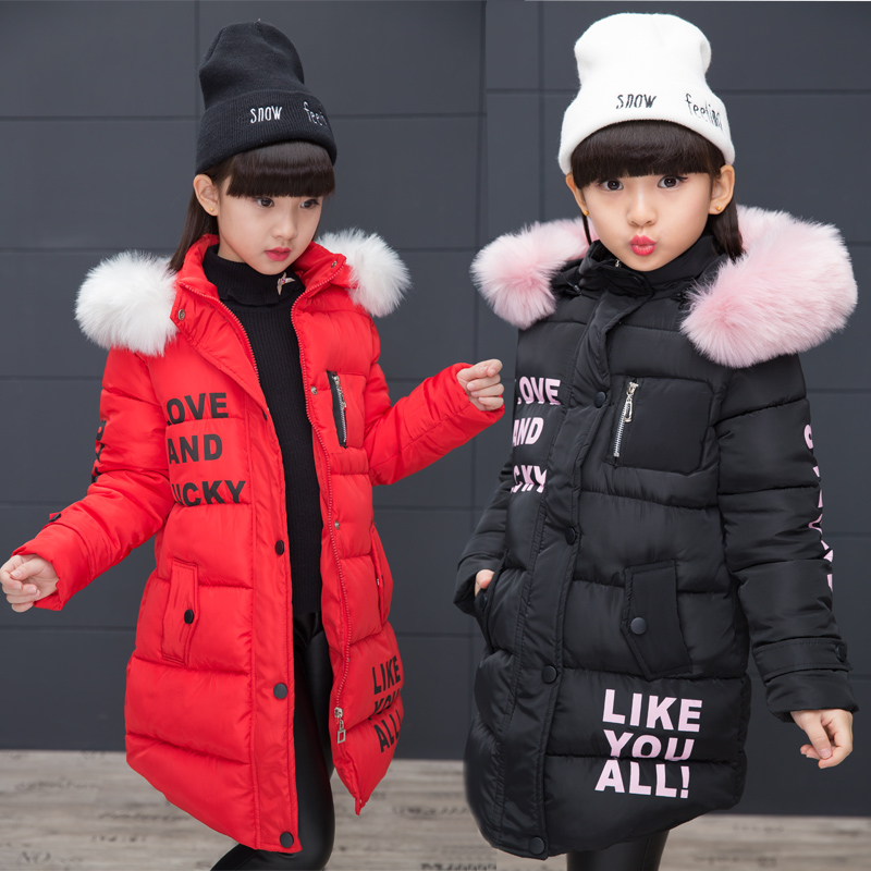 5-13 Y winter jacket for girls popular girls down coats girl winter fur collar children's parkas long warm Thicken printing одеяло lara home wool всесезонное цвет бежевый 200 х 220 см