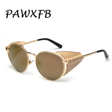 PAWXFB 2019 New Steampunk Sunglasses Women Fashion Mirror Sun glasses Accessories Ladies Round Glasses