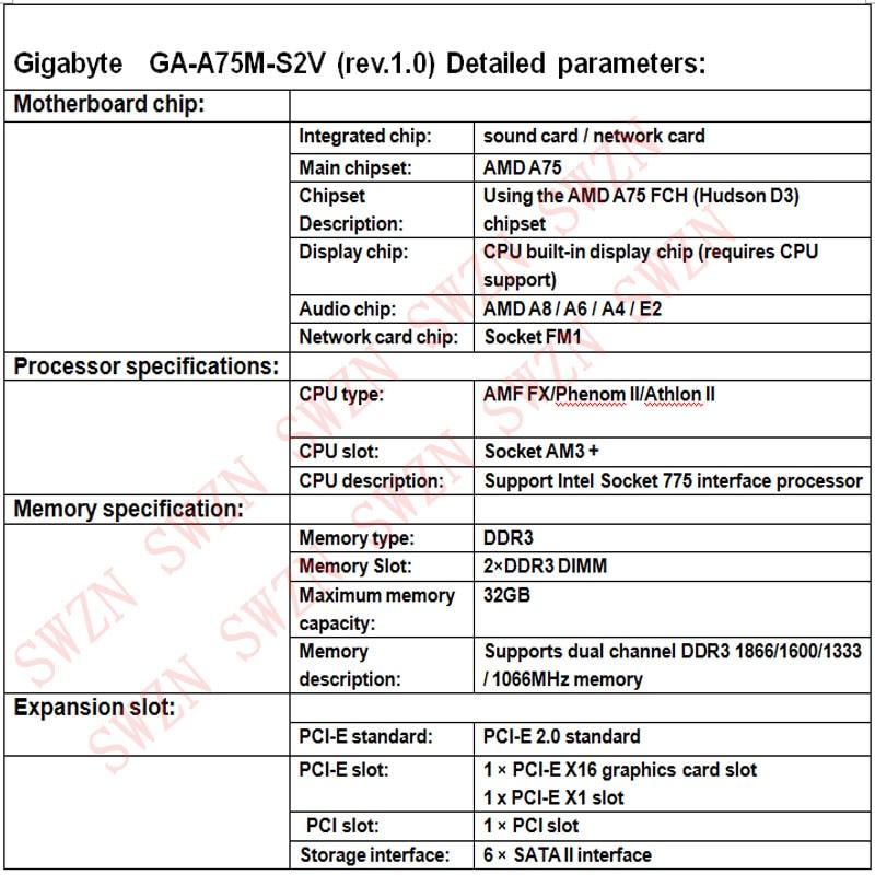 original Used Desktop motherboard For Gigabyte GA A75M S2V
