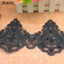 YACKALASI 3 Yards/Lot Beading Embroidery Applique Lace Trims Selvage Sequined Flower Beaded Sewing trims Floral 12cm