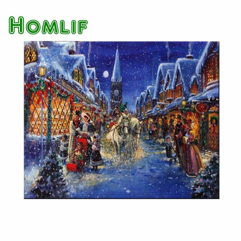 HOMLIF Diy pittura Diamante 5D Natale Modello Stradale