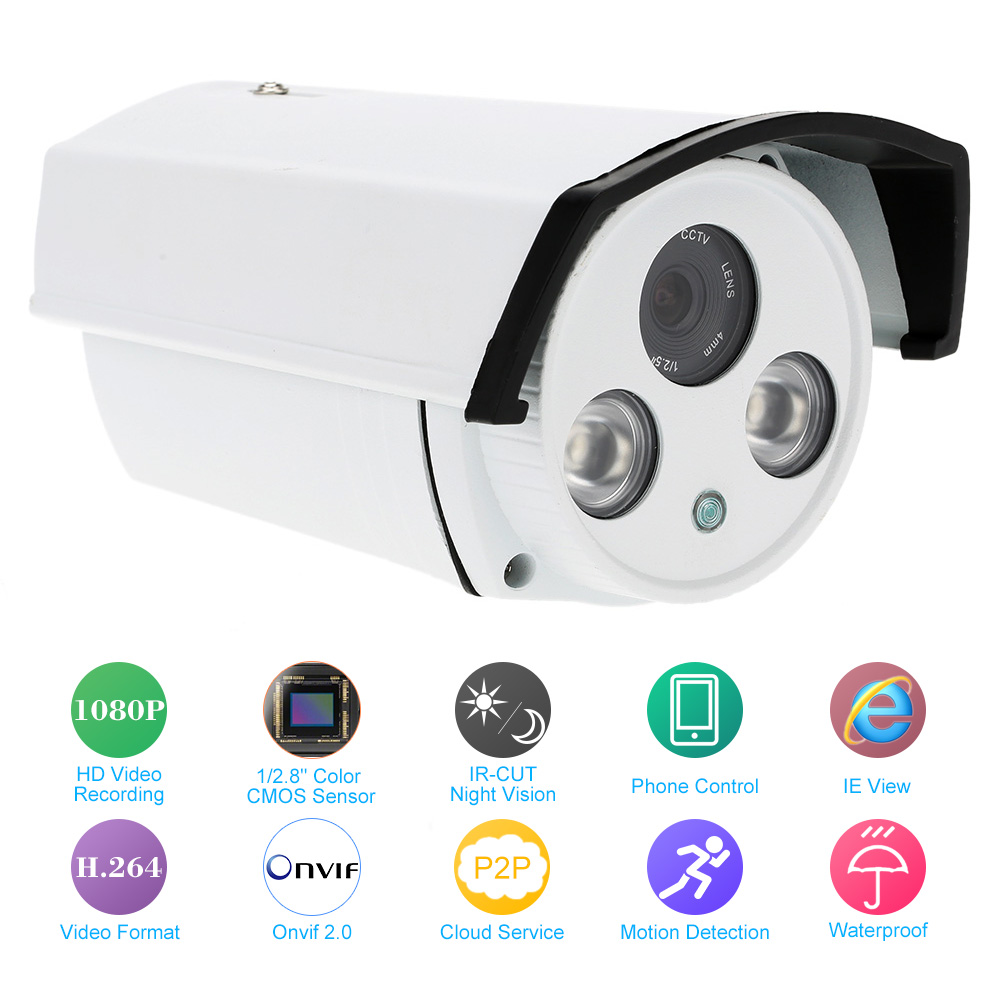 ФОТО Full HD 1080P IP Camera Megapixel 720P 960P IR Cut 4mm Lens Day/Night Vision P2P Infrared CCTV Camera Mini Bullet Outdoor Camera