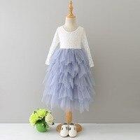 Detaliczna Dziewczyny lato słodkie koronki z długim rękawem tutu sukienka, dziewczyny suknia ślubna, dziewczyny party dress dzieci, BW888