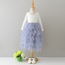 Retail Girls summer sweet lace long sleeve tutu font b dress b font girls font b
