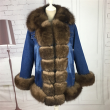 winter Parka fur real women Parka real fur parka with natural fur Denim parkas with fox fur collar Denim Jacket(China)