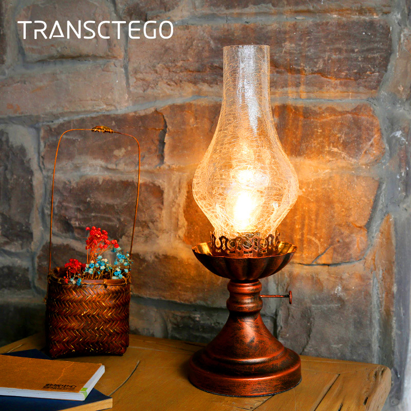 Retro Desk Lamp Kerosene Light Table Lamp Vintage Industrial Bedside Night Light For Living Room Bedroom Decorative Lantern elegant a line round button midi skirt for women