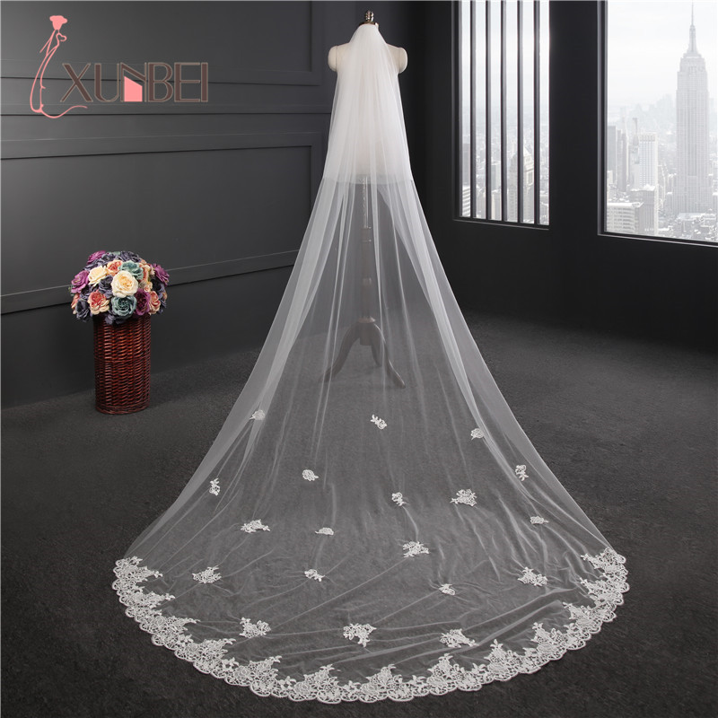 Cheap In Stock White Ivory 3 Meters Two Layers Long Lace Edge Cathedral Wedding Veil With Comb Bridal Veils Wedding Accessories
