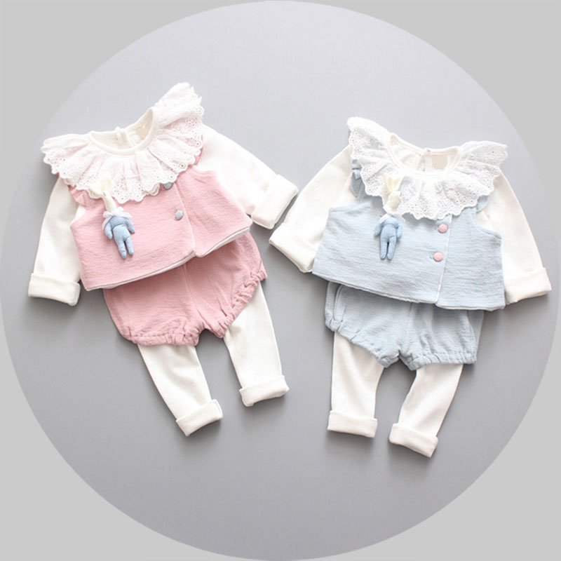 Spring 2017 new Korean lace o-neck clothing set baby girls cute cotton clothes suit child cartoon 3pcs suit fashion infant cloth kids spring 2017 new fashion korean wave point clothing set baby girls cute cotton clothes suit childern cartoon 3pcs suit