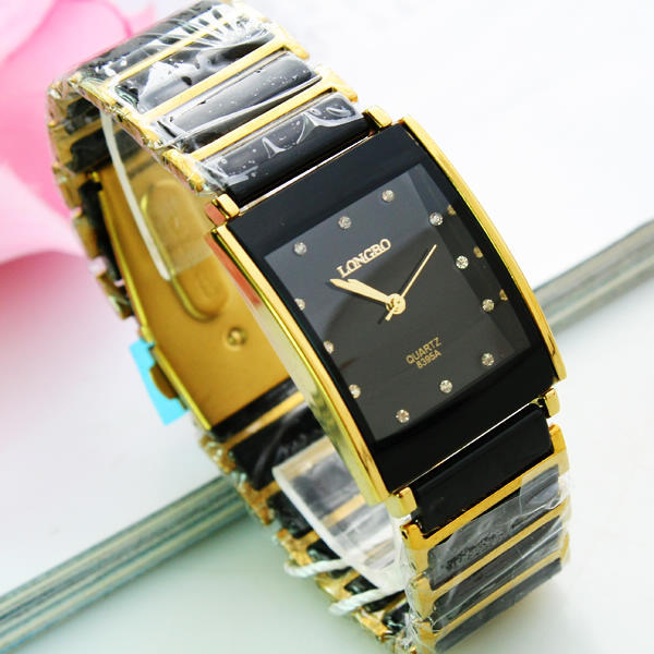 Fashion LONGBO Brand Black Ceramic Gold Steel Band Watch 30M Waterproof Man Square Luxury Gift Top Quality Quartz Wristwatches