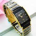 Moda LONGBO Marca De Cerámica Negro Oro Banda de acero reloj 30 M impermeable Hombre Square Regalo de Calidad Superior de Lujo Relojes de pulsera de Cuarzo
