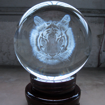 GOOD Crystal # TOP efficacious HOME Family Talisman- exorcise evil spirit The town house - 3D animal tiger Crystal ball statue